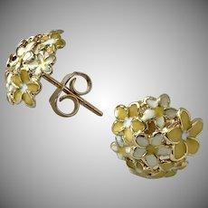 PRETTY! 14K YG  Enamel Flower Earrings