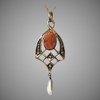 12K YG Coral & Pearl Cameo Lavaliere with Chain