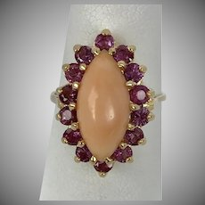 Vintage 14K YG Coral and Pink Sapphire Ring Size 5-1/4