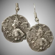 Antique Sterling Silver Nymph Earrings