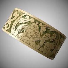 Goddess Saraswati Hand Carved Wooden Bangle/Bracelet