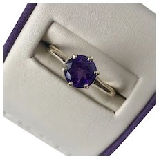 Pretty Vintage 14K YG Amethyst Ring Size 7-1/4 to 7-1/2