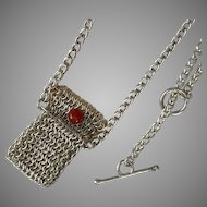 Vintage Coral Pouch Chain Link Pendant Sterling Silver & 14K Gold