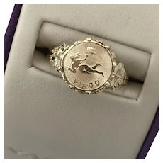 Vintage 14K YG VIRGO Ring Size 7-1/2