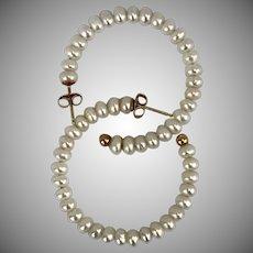 Lovely 14K YG  Cultured Pearl Hoop Earrings