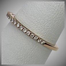 Vintage 18K Rose Gold Diamond Band Size 5.25 to 5.5