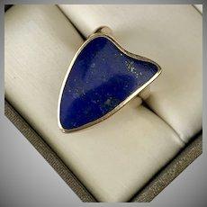 """ICONIC! """"Delta Shape"""" 14K YG Lapis Lazuli Ring"""