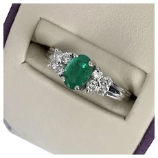 REDUCED! Vintage 18K WG Bailey Banks & Biddle Emerald & Diamond Ring Size 7-1/4