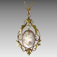 Antique  10K YG Conch Shell Cameo & Pearl Pendant