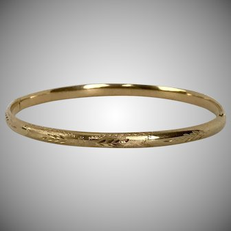 14K Yellow Gold Vintage Bangle/Bracelet 6-3/4 Inches