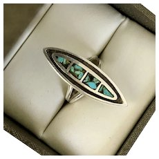 Vintage Sterling Silver Turquoise Ring Size 6.5