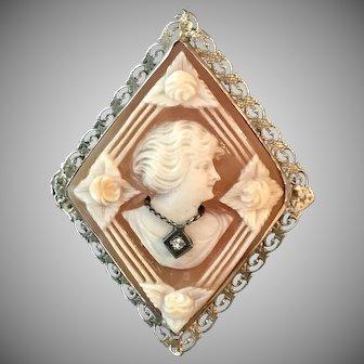 BEAUTIFUL! Habillé Diamond Cameo Converter Brooch 14K White Gold