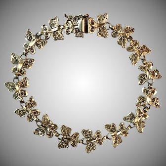 Pretty 14K Yellow Gold Butterfly Link Bracelet