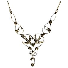 Romantic 18k/14k Arts & Crafts Swallow & Seed Pearl Necklace 19-1/2 Inches