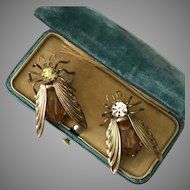 RARE! 1920's Art Deco Czechoslovakian Fly Brooches