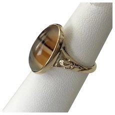 14K YG Vintage Banded Agate Ring Size 6