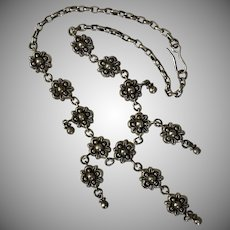 Beautiful Handmade Sterling Silver Floral Festoon Necklace