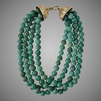 Beautiful Estate 14K YG Persian Turquoise Bracelet