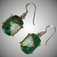 Turquoise with Opal Inlay Sterling Silver Earrings