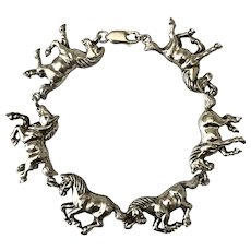 Sterling Silver Horse Bracelet 7-1/2 Inches