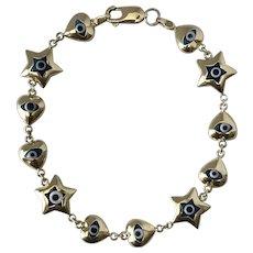 Outstanding! 14K YG Evil Eye Bracelet 11.5 Grams