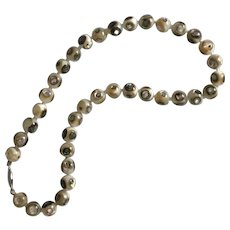Large 10mm Abalone Bead Strand Vintage Silver 17-Inches - Red Tag Sale Item