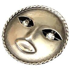 Joseff of Hollywood Mask Pin with Rhinestones