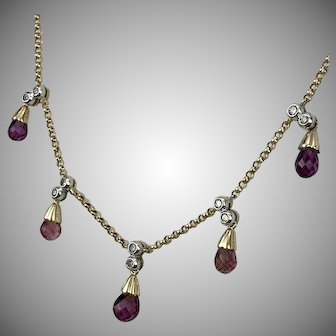 PRETTY! 14K YG Diamond & Pink Tourmaline Necklace