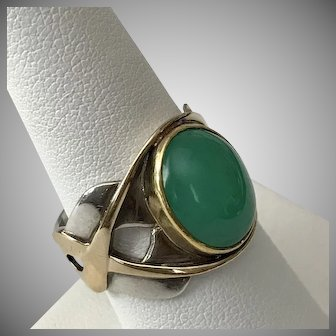 NICE! 14K & S.S. Chrysoprase Awareness Ribbon Ring Size 9