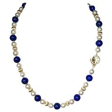 Striking 14K YG  Lapis, Akoya Pearl, and Gold Fluted Bead Necklace 17-Inches