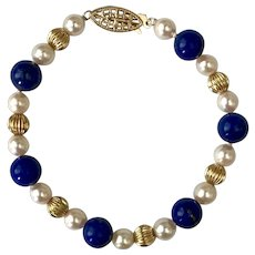 Striking 14K YG  Lapis, Akoya Pearl, and Gold Fluted Bead Bracelet 7-1/2 Inches