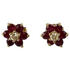14K YG Ruby & Diamond Floret Stud Earrings