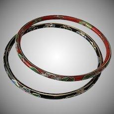 Set of 2 Vintage Multi-Color Cloisonné Floral Bangle Bracelets