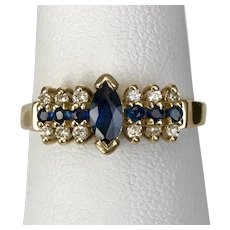 14K YG Blue Sapphire Ring with Diamonds Size 6-1/2