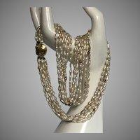 14K YG Biwa Pearl & Gold Nugget 6-Strand Necklace c1983
