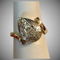 Stunning!  Deco 14K YG  Diamond Ring Size 9