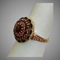 Pretty! Garnet & Enamel Ring Size 6-1/4