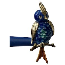 Very 'Tweet'! 14K YG Diamond & Enameled Blue Bird Pin