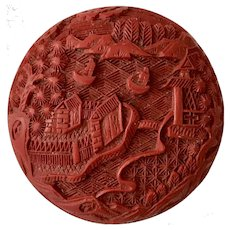 Intricately Carved Red Cinnabar Box