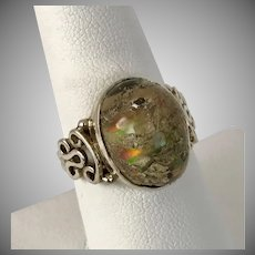 Natural Rough Rainbow Fluorite Sterling Silver Ring