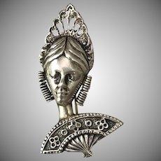 SOLID! Sterling Silver Senorita Dancer Brooch