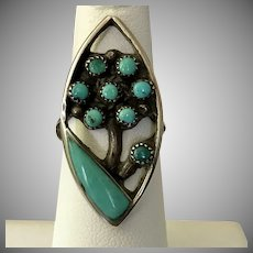 ZUNI Sterling Silver Turquoise Ring Size 5-1/2