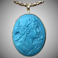 18K Persian Turquoise  Bacchante Cameo