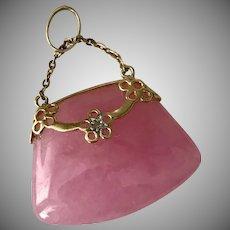 Lovely! 14K Rose Quartz Purse and Diamond Pendant/Charm