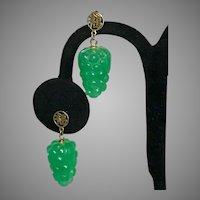 14K YG Apple Green Jadeite Jade Earrings
