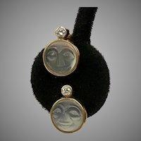Amazing 14K YG Diamond Moonstone Man in the Moon Earrings