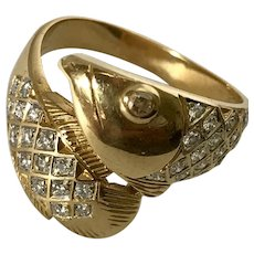 'Much Happiness' 18K YG Diamond Fish Ring Size 6-3/4