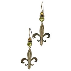 Pretty! Fleur-de-lis  Peridot and Citrine Dangle Sterling Silver Earrings