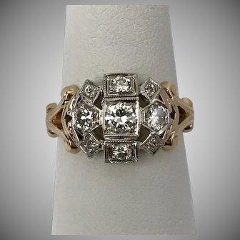 Beautiful! 1930's Diamond Ring  0.54 CTW Size 6