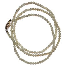 Natural White Opal Bead Necklace with 14K YG Clasp